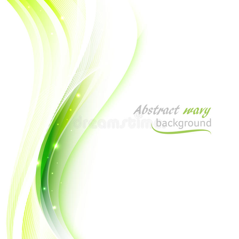 Abstract background with transparent green wavy lines. stock illustration