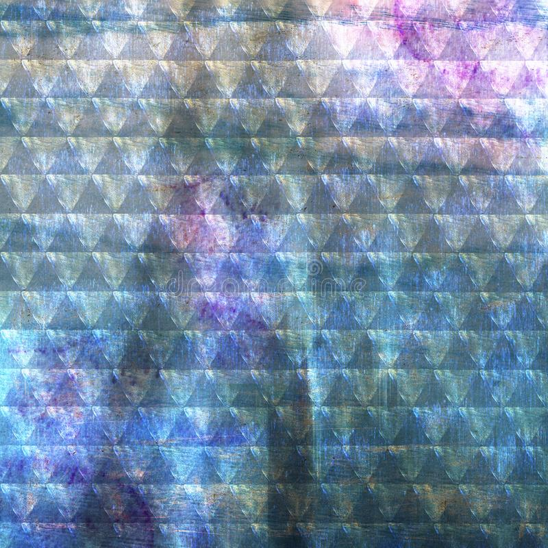 Abstract background with triangles in blue tones, shabby texture. Watercolor background with computer processing royalty free illustration
