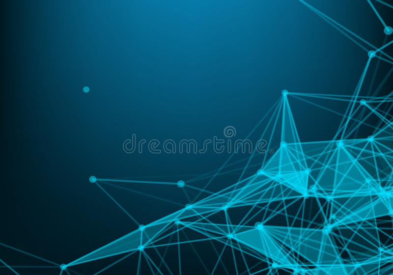 Abstract background with triangular cells for design. Bright blue digital illustration with polygons on a dark background royalty free illustration