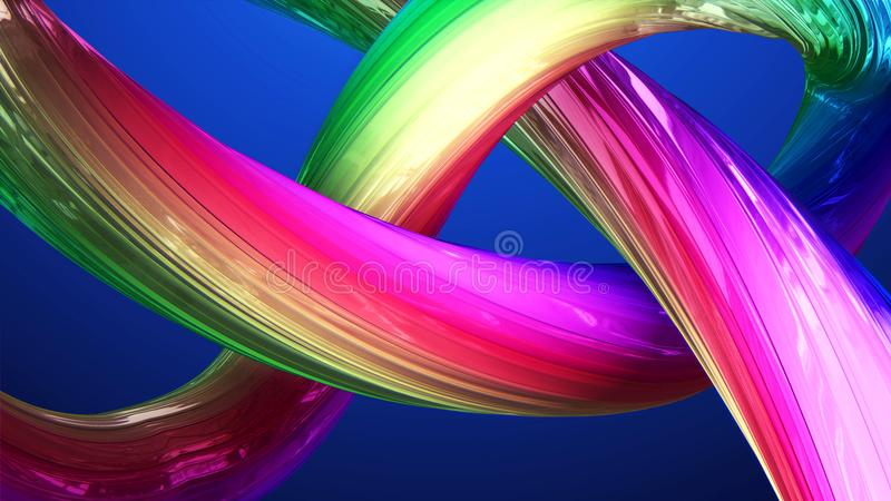 Abstract background of twisted multicircular 3d lines royalty free illustration