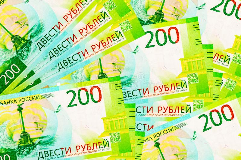 Abstract background of two hundred rubles bills. royalty free stock image