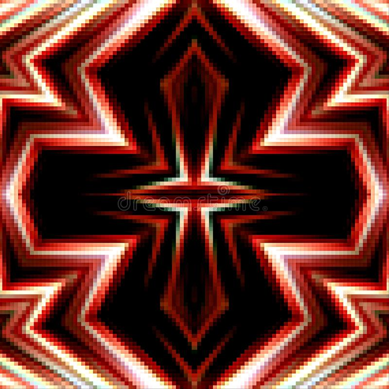 Colorful background from squares. Cross ornament i pixel. royalty free stock photography