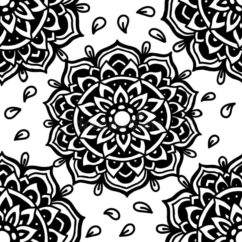 Abstract background. Vector illustration. Ethnic mandala monochrome seamless pattern. Indian ornament. stock illustration
