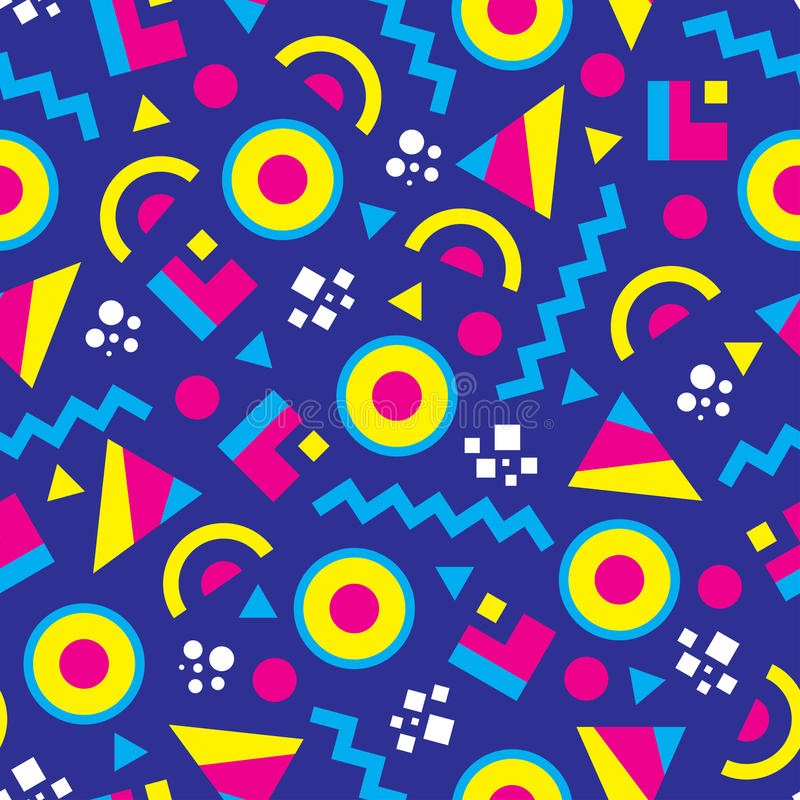 Abstract background vector seamless pattern in fashion retro style of Memphis italian design group 80s. vector illustration