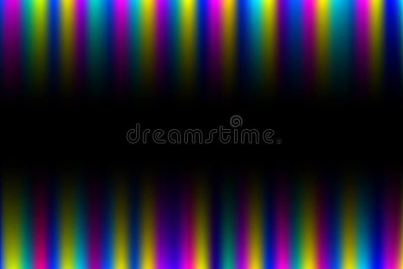Abstract background with vertical colorful glowing rays top, bottom of vector illustration stock illustration