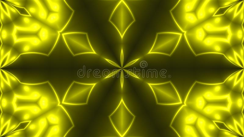Abstract background with VJ Fractal Yellow kaleidoscopic. 3d rendering digital backdrop royalty free illustration