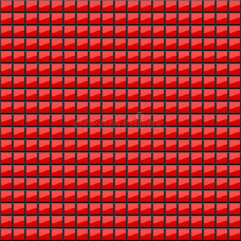 Abstract background of volumetric red squares. 3d illustration. A pattern of quadrangles with glitter. Even mosaic. Wallpapers stock illustration