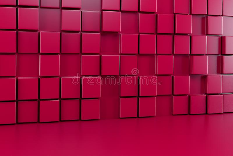 Abstract background wall of red cubes and red floor. 3d render vector illustration