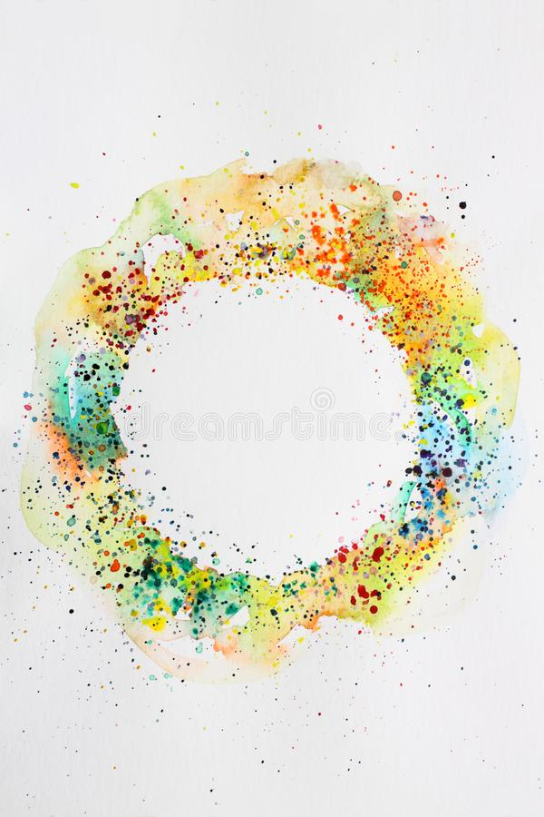 Abstract background watercolor drawing round frame. Digitized watercolor drawing with the image of an abstract geometric pattern stock photos