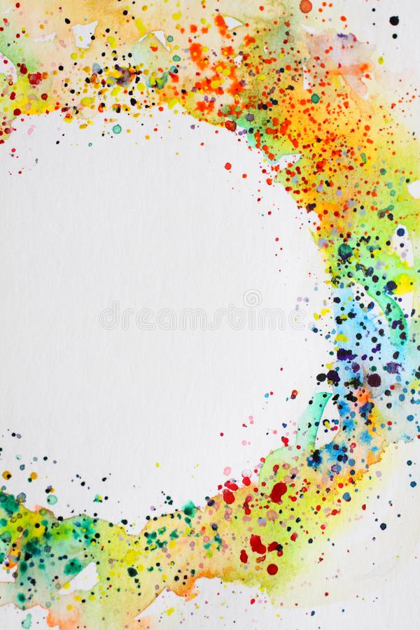 Abstract background watercolor drawing round frame. Digitized watercolor drawing with the image of an abstract geometric pattern stock photo