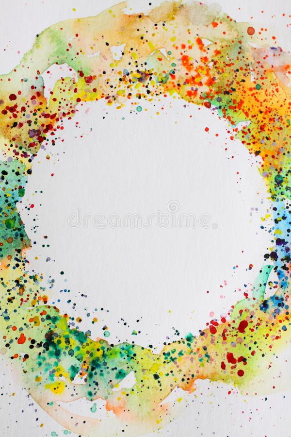 Abstract background watercolor drawing round frame. Digitized watercolor drawing with the image of an abstract geometric pattern stock photography