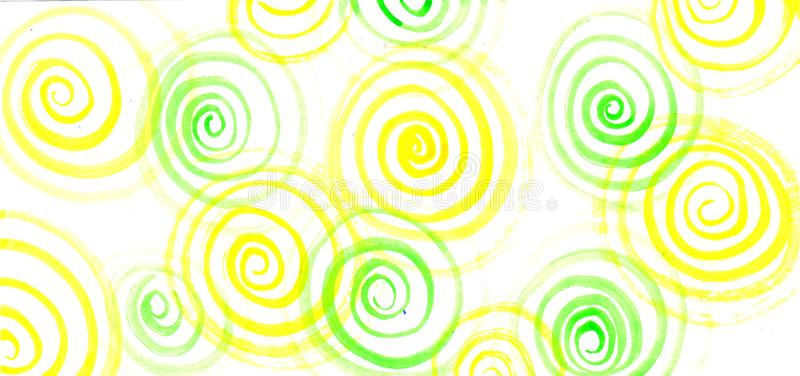 Abstract background of watercolor green and yellow spirals stock photography