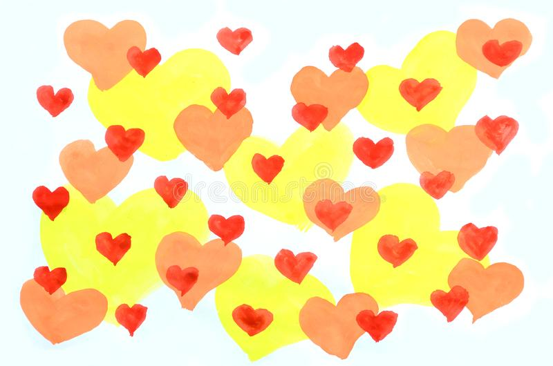 Abstract background watercolor illustration with the image of a set of yellow, red and orange hearts of various sizes that overlap royalty free illustration