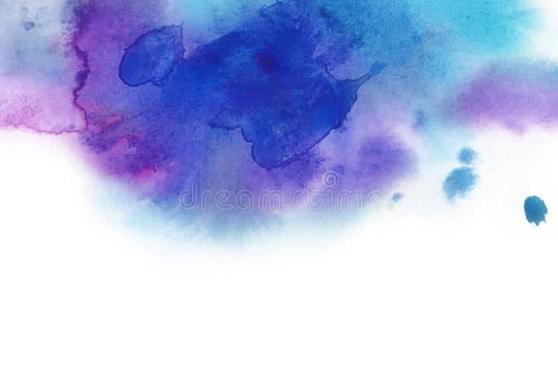 Abstract background. Watercolor splash has drawn manually blue, p royalty free illustration