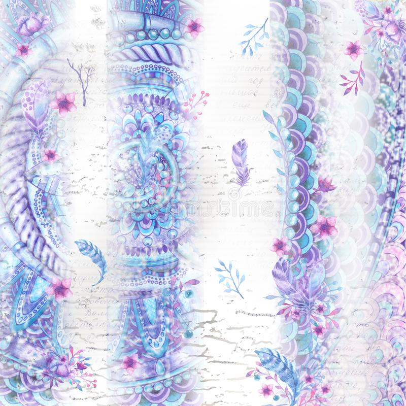 Abstract background with watercolor striped pattern in lilac colors, grunge texture. Text, freehand drawing of a bird`s feather vector illustration
