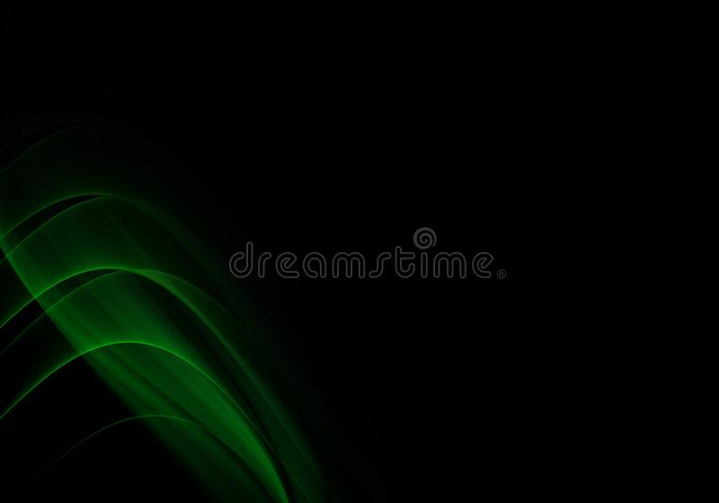 Abstract background waves. Black and green abstract background with space for your text.  stock illustration