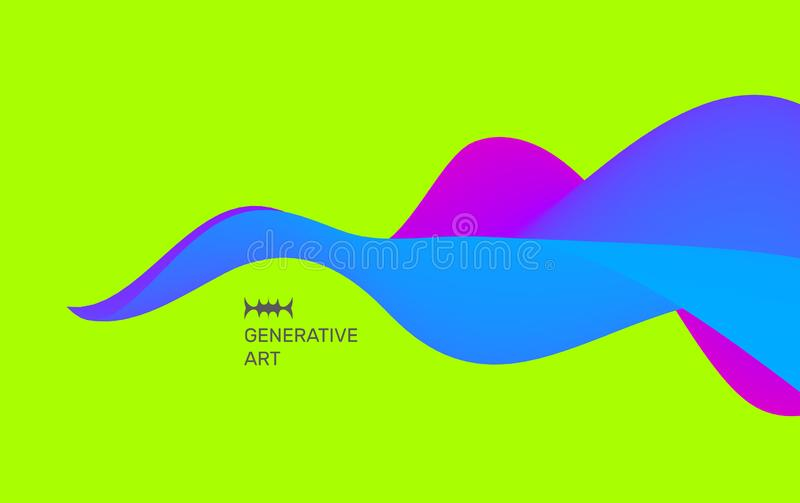 Abstract background with waves. Dynamic Effect. Vector Illustration. Design Template.  stock illustration