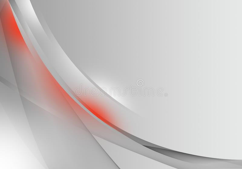 Abstract background waves. White, red and grey abstract background for business card or wallpaper stock illustration