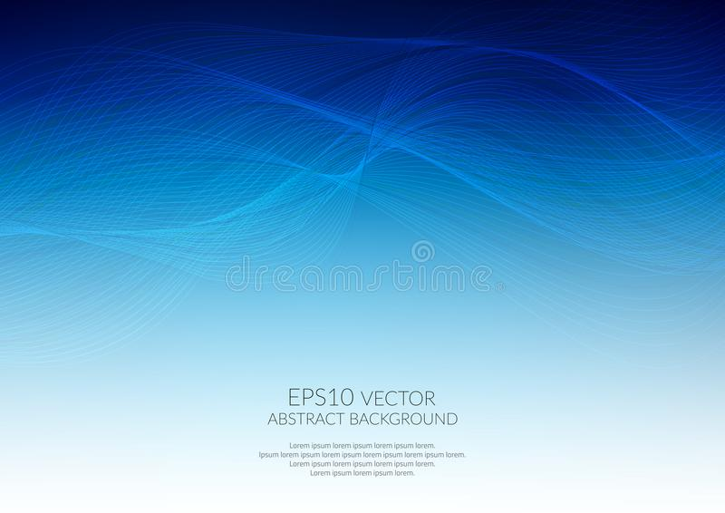 Abstract background with wavy lines. Shades of blue. Space for text stock illustration