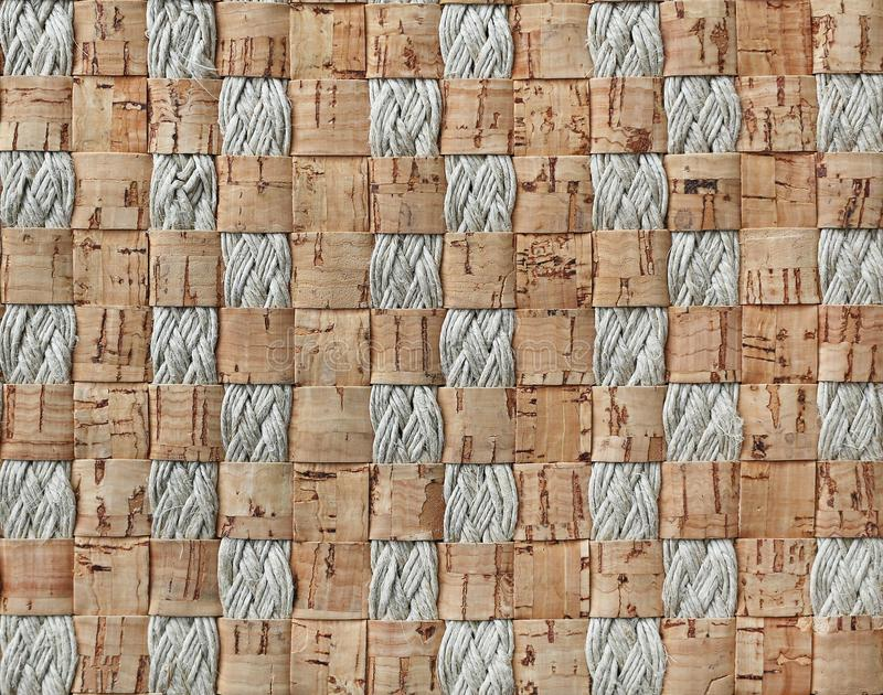Abstract background weave of cork and rope stock photo