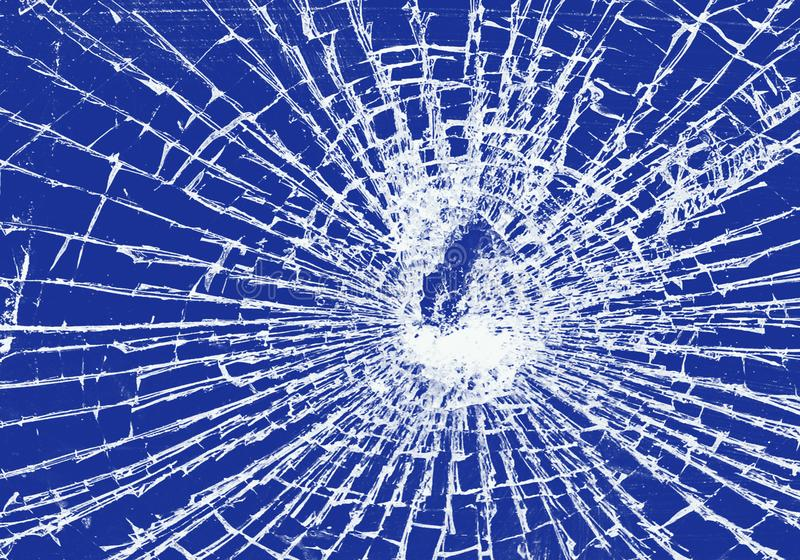 Broken glass on a blue background. Abstract background in which the main subject is a broken glass of a stone vector illustration