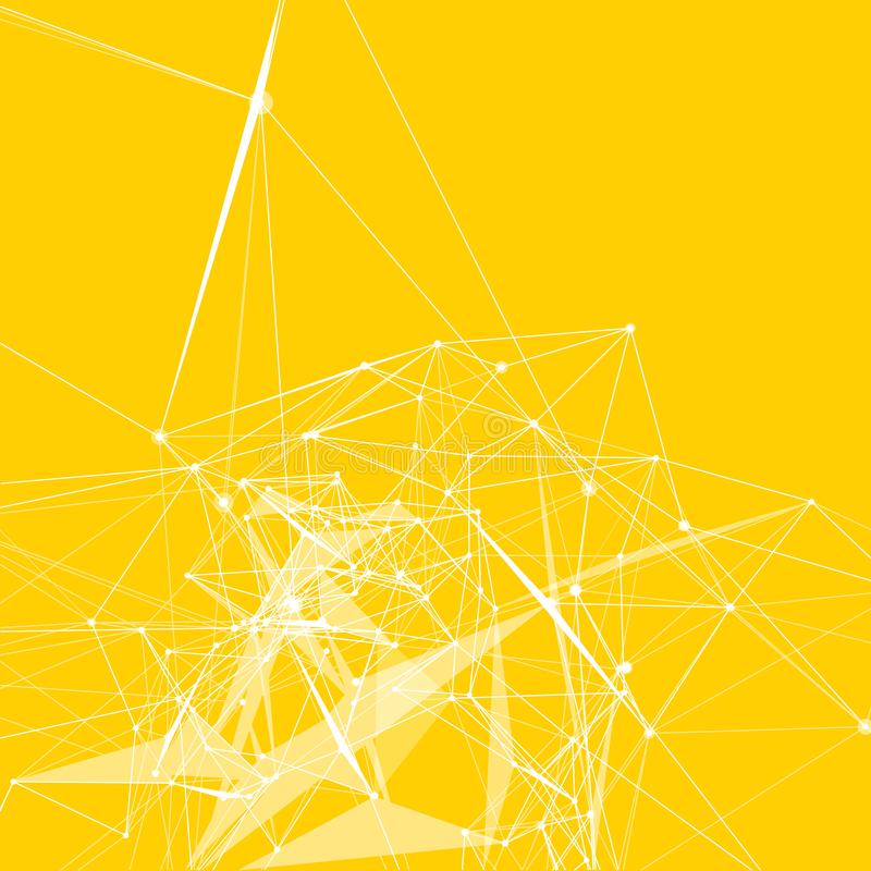 Free Abstract Background. White Dots Connected With Lines On Trendy Yellow Background Royalty Free Stock Images - 115724689