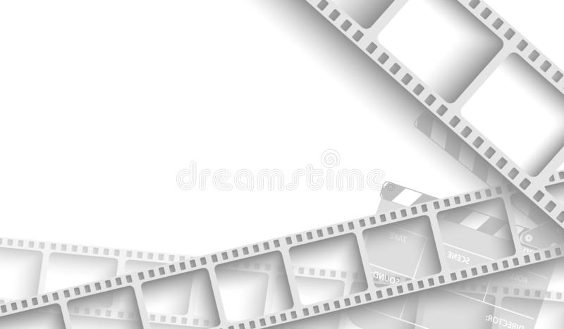 Abstract background with white film strip frame and clapper-board isolated on white background. Design template cinema with space royalty free illustration