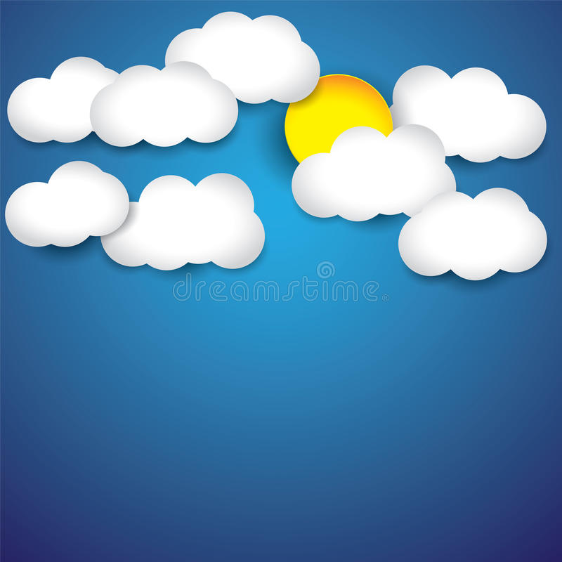 Abstract background- white paper clouds,sky & sun stock illustration