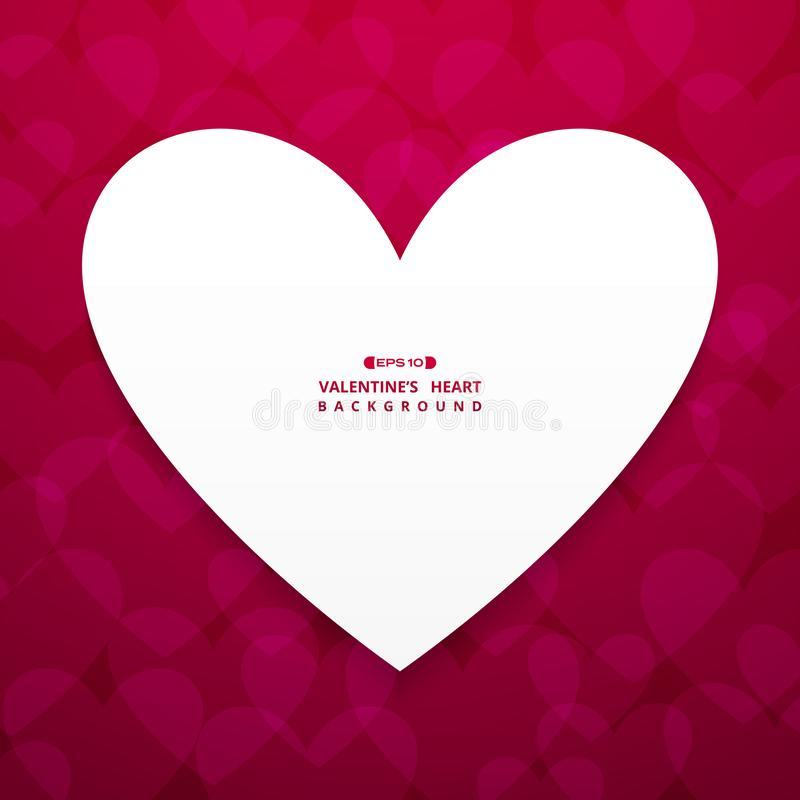 Abstract background of white space heart center on Valentine`s gradient red background royalty free illustration