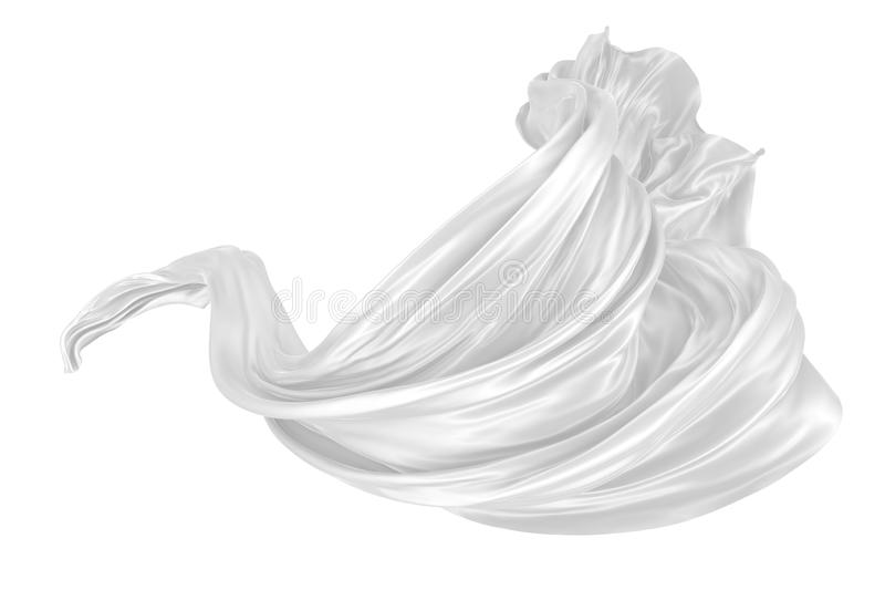 Abstract background of white wavy silk or satin. 3d rendering image. Image isolated on white background vector illustration