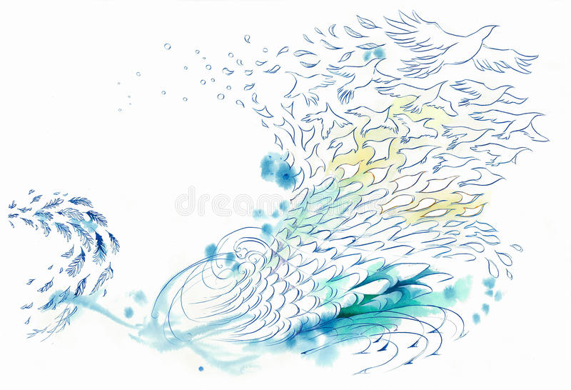 Abstract background wind and water fish and bird stock illustration