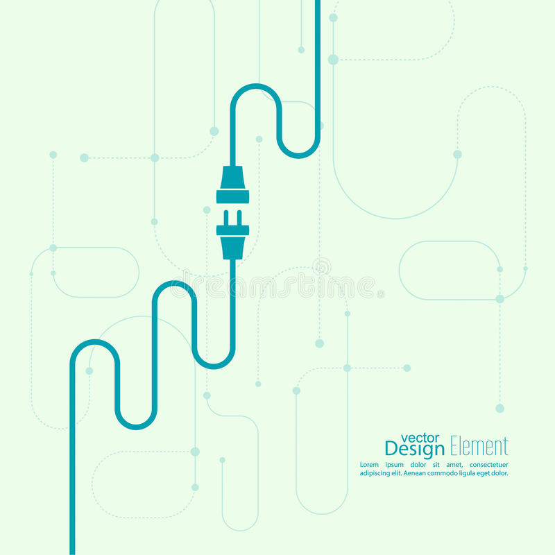 Flat Cables Design : Abstract background with wire plug and socket stock vector