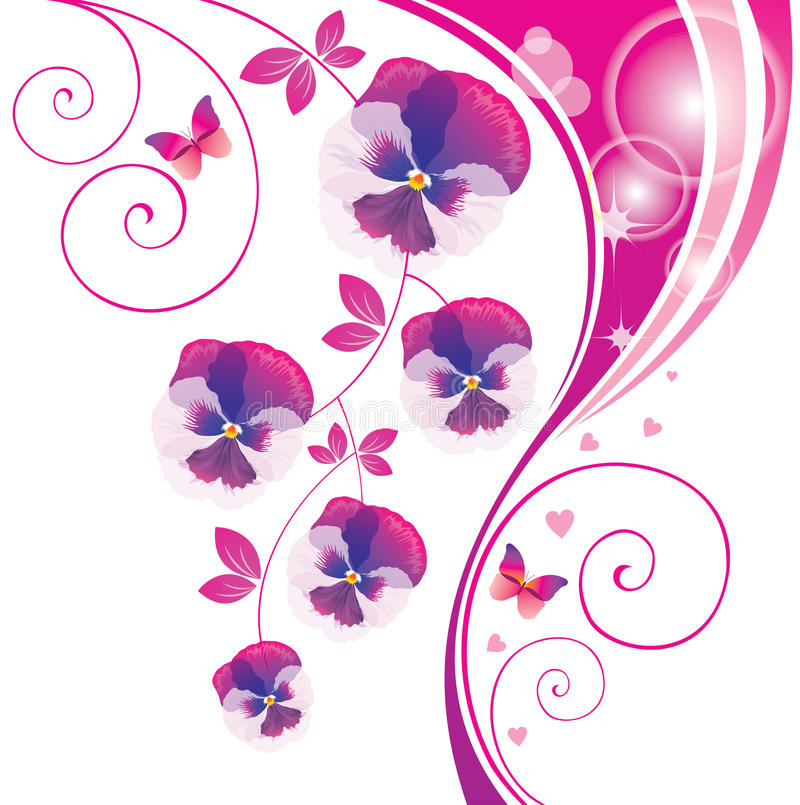 Free Abstract Background With Pink Viola And Butterfly. Royalty Free Stock Image - 26086046
