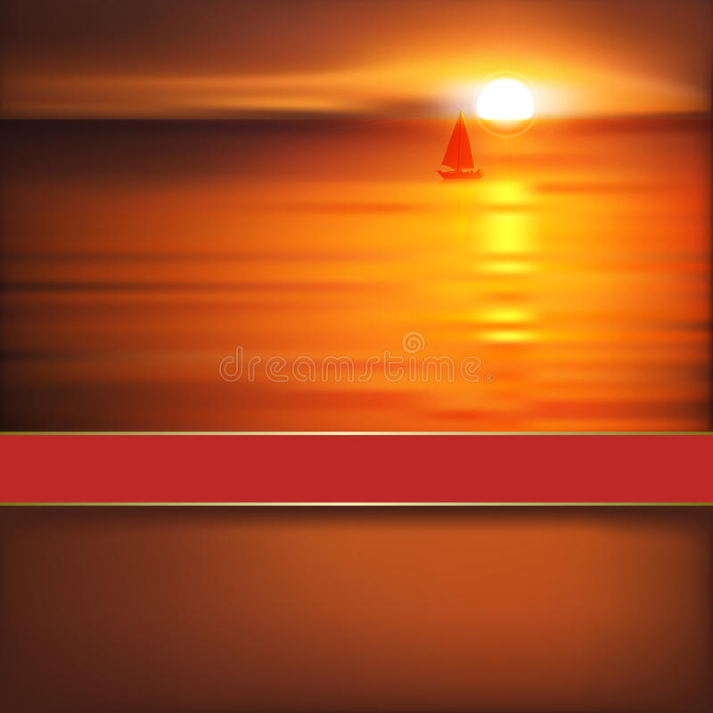 Free Abstract Background With Sunrise And Yacht Stock Image - 30717161