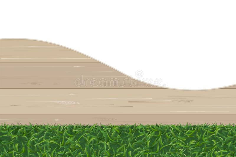 Abstract background of wood pattern and green grass texture. vector illustration