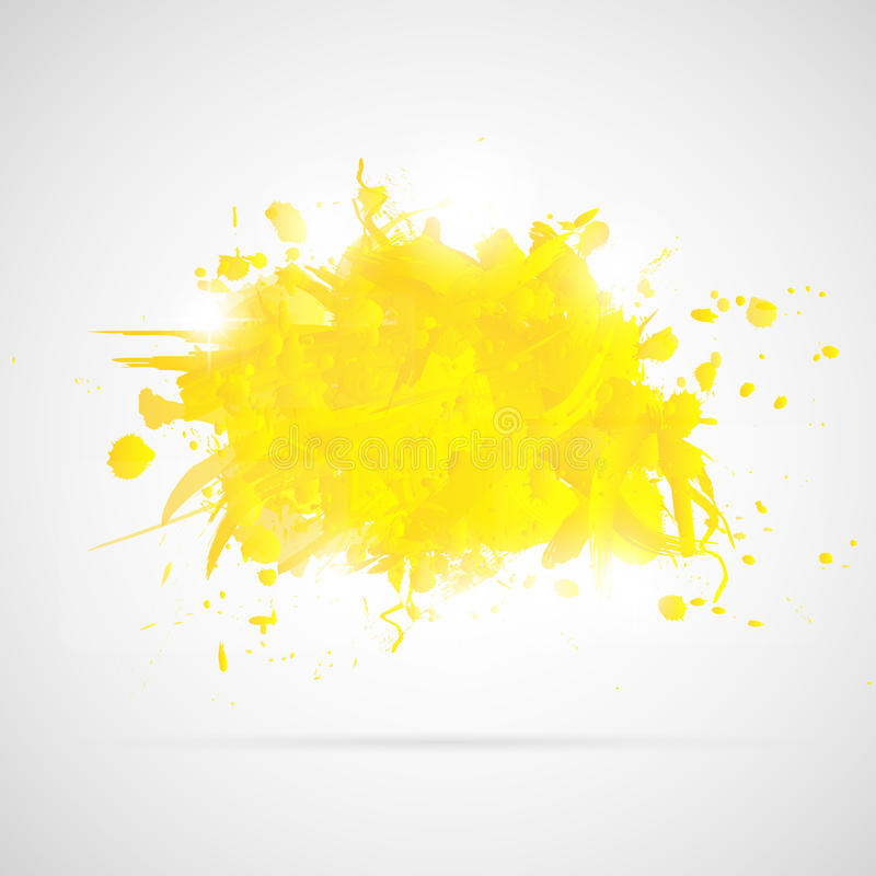 Abstract background with yellow paint splashes. stock illustration