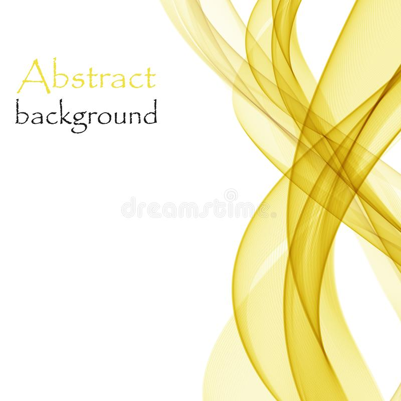 Abstract background with yellow waves of transparent flying material royalty free illustration
