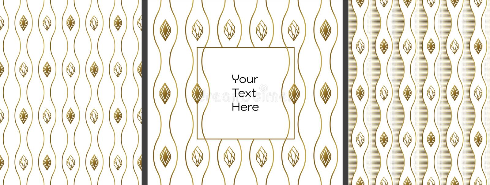 Abstract background and your text. Wavy gold lines and diamonds. Free space for text, advertising, design, flyers. royalty free illustration