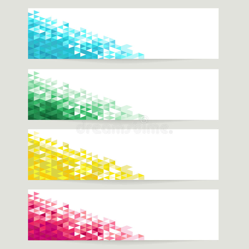 Abstract backgrounds with blue, green, yellow and red crystals stock illustration