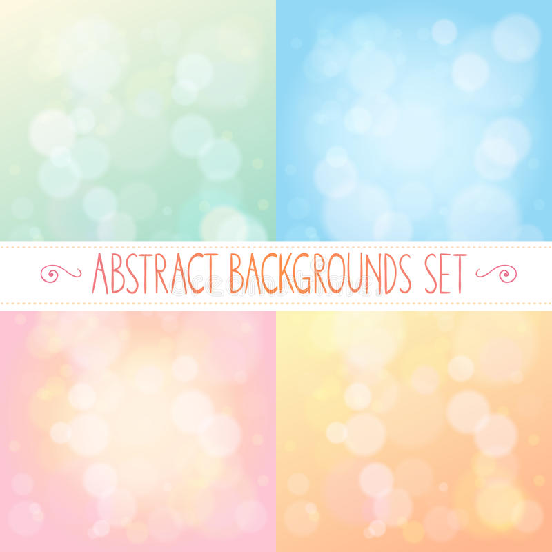 Abstract backgrounds with bokeh set. Abstract backgrounds with bokeh gentle colorful set vector illustration