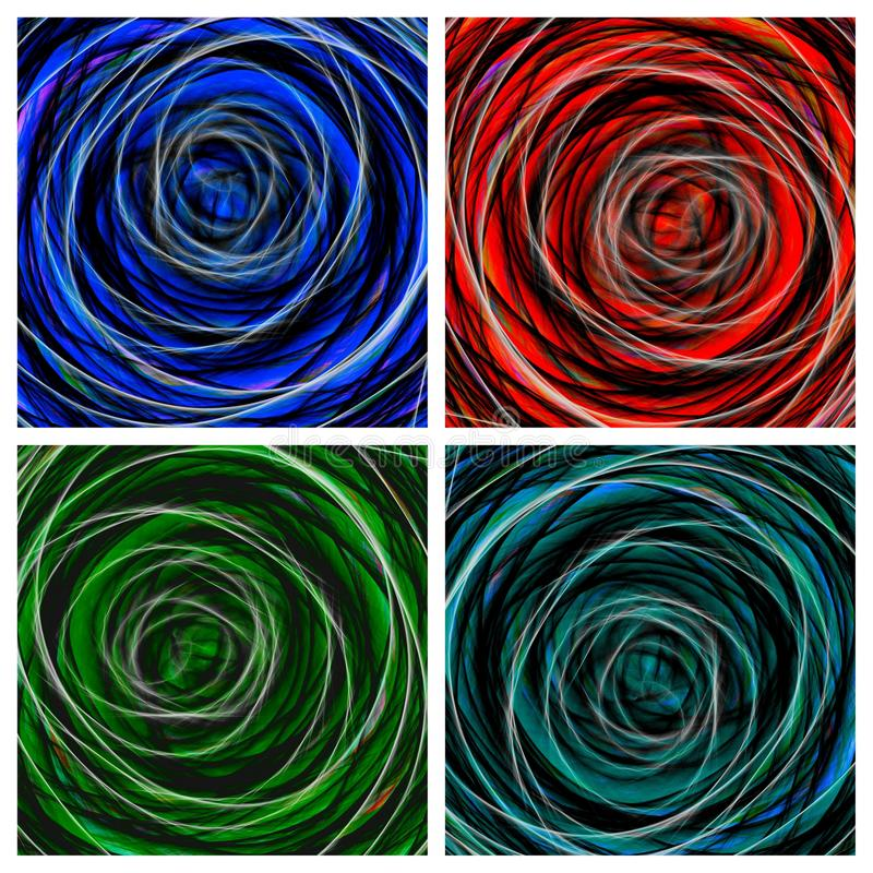 Abstract backgrounds. Collage of colorated graphic vortex stock illustration