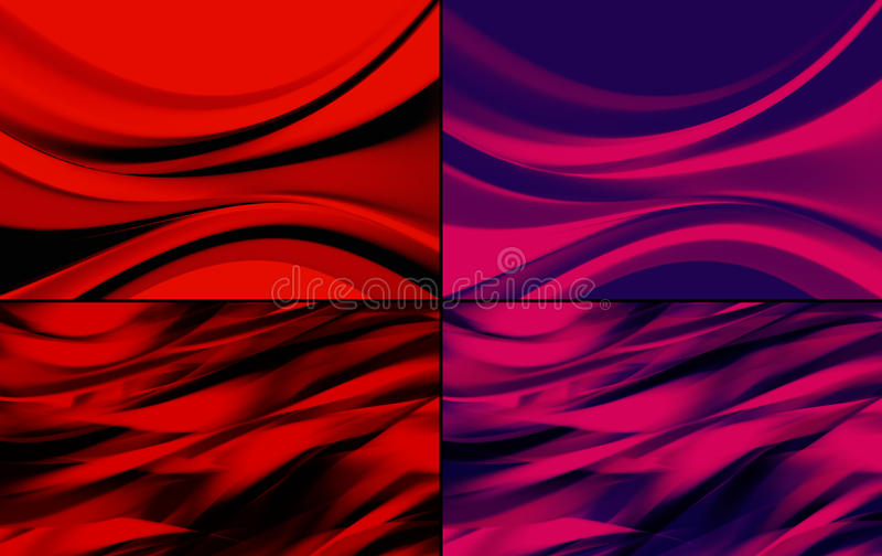 Abstract backgrounds pack. Modern design of backgrounds. Motion of elements with dynamic abstract waves vector illustration