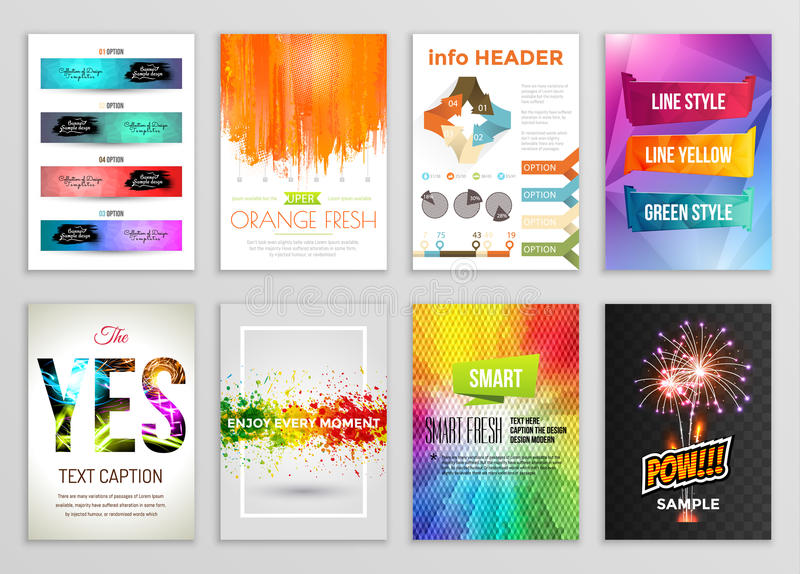 Abstract Backgrounds Set. Geometric Shapes and Frames for Presentation, Annual Reports, Flyers, Brochures, Leaflets royalty free illustration