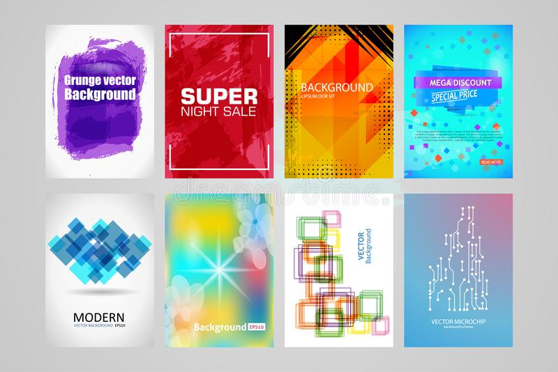 Abstract Backgrounds Set. A4 Title Sheet Template royalty free illustration