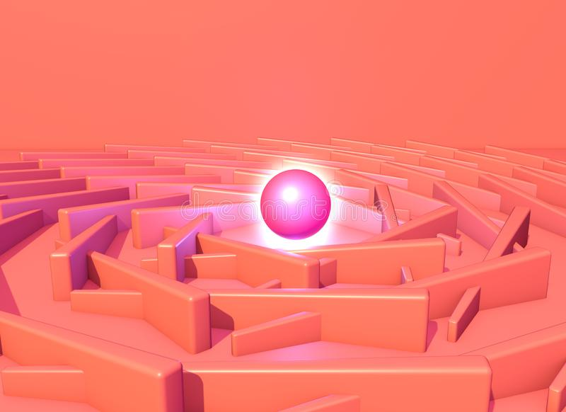 Abstract backgroung with shiny plasma ball into the pink architectural structure. 3D illustration royalty free illustration