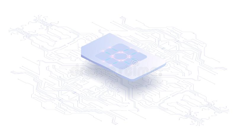Abstract banner Embedded SIM concept. New mobile communication technology and processor background circuit board stock illustration