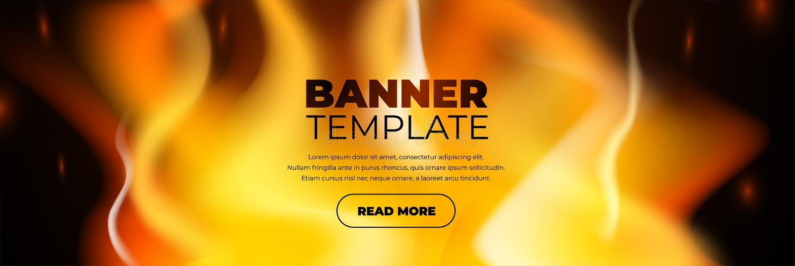 Abstract banner fire design template button stock illustration
