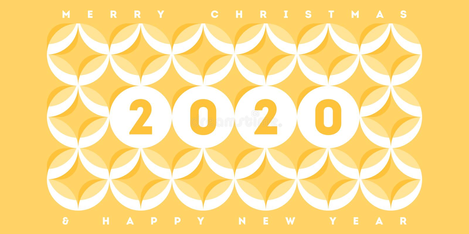 Abstract banner template design with elegant numbers 2020 on pastel colored geometric pattern with circles and stars in a yellow vector illustration