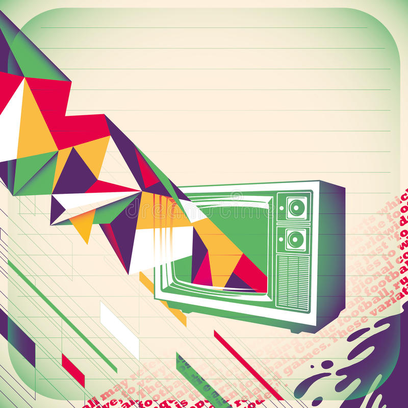 Abstract banner with tv. royalty free illustration