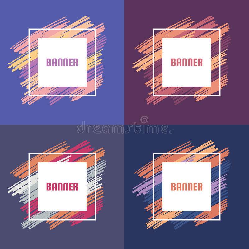 Abstract banner vector concept illustration with brush strokes. Modern art background for presentation, brochures, gift cards. royalty free illustration